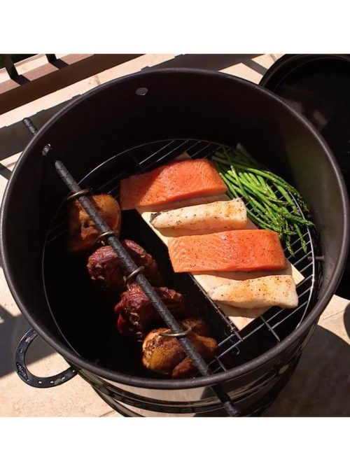 Pit Barrel Cooked Hinged Grill Grates Installed