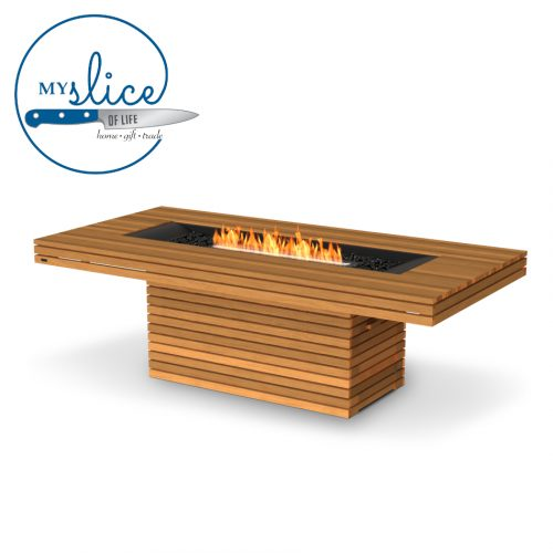 Ecosmart Fire Gin 90 Dining Fireplace Teak (Black Burner)