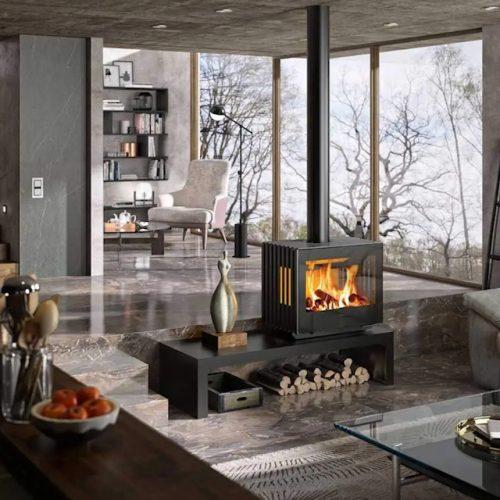 Hergom Glance Freestanding Wood Fireplace