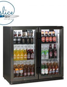 Schmick Fridges 190L Black Stainless Glass Double Door Bar Fridge (1)
