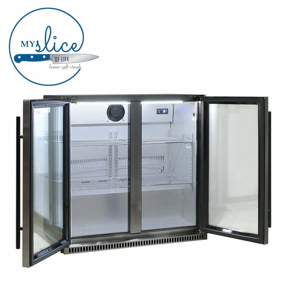 Schmick Fridges 190L Black Stainless Glass Double Door Bar Fridge (4)
